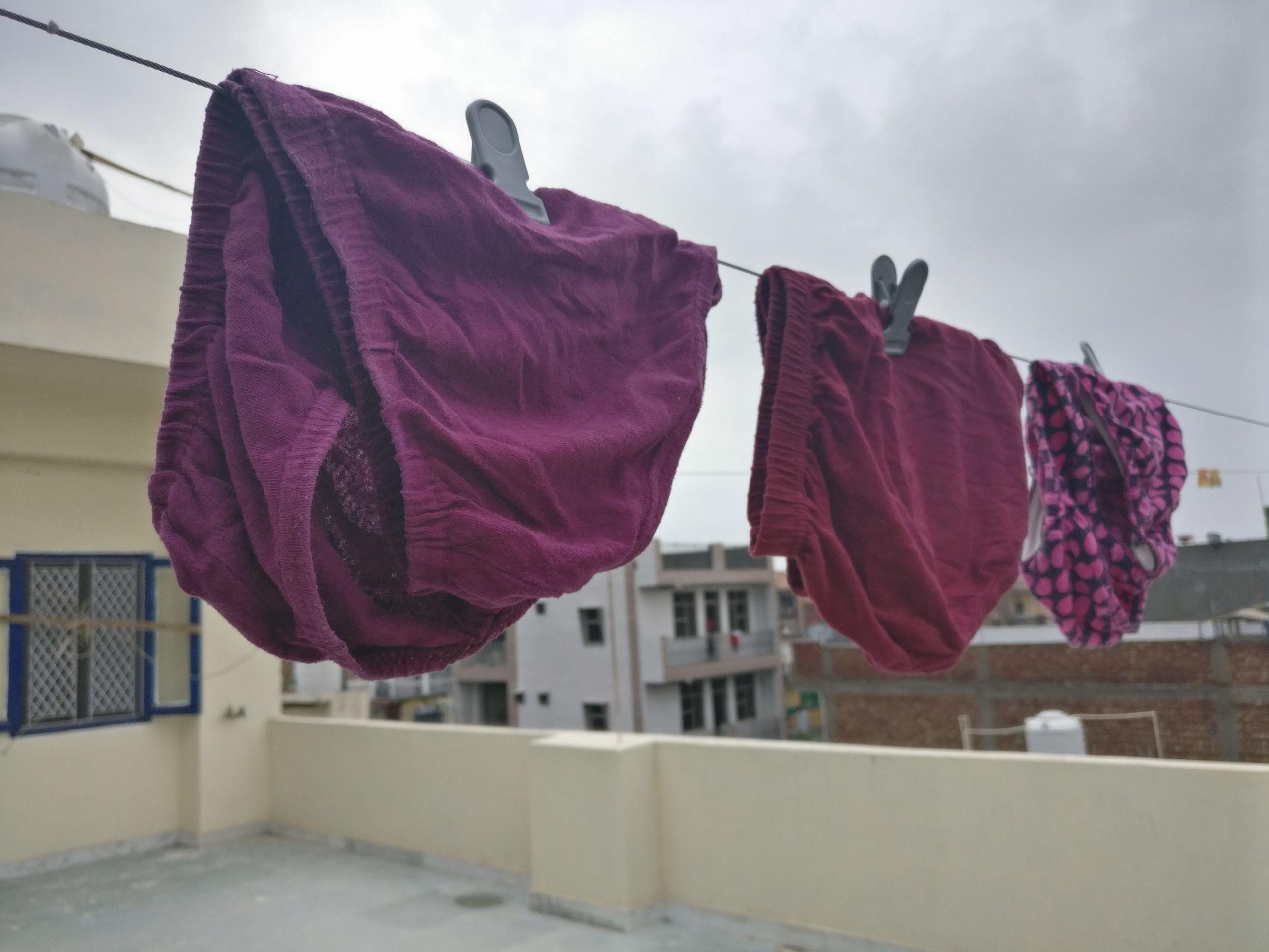 9946ffbc841 Panties hanging on a rope in Palam Village